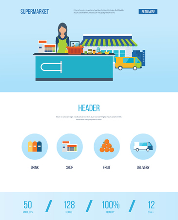 assortment: Supermarket store concept with food assortment, opening hours and payment options, delivery icons illustration vector. One page web design template