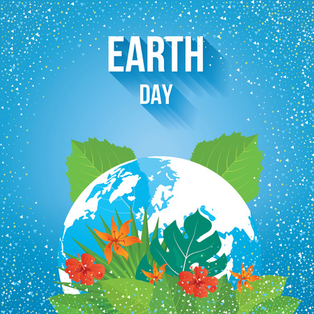 ecology background: Earth Day and World Map. Ecology concept. Summer tropical background of palm leaves and flowers.