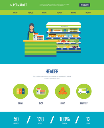 preserves: One page web design template with color line icons of supermarket shop. Supermarket interior shelf with fruits, vegetables, milk, honey, drinks, preserves. Healthy eating and eco food. Illustration