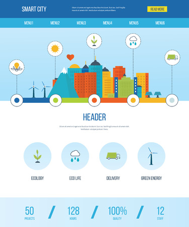 web template: One page web design template with icons of smart city. Green eco city and eco life infographic. Modern energy safety. Ecology concept, city eco and clean planet, urban landscape concept.