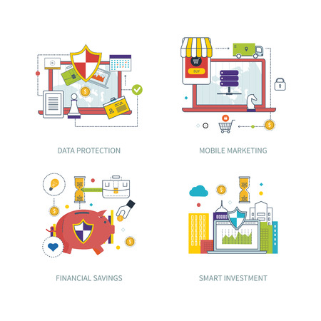 data line: Illustration of vector modern color line flat design composition and infographics concept for data protection, mobile marketing, online shopping, financial saving and strategy, smart investment