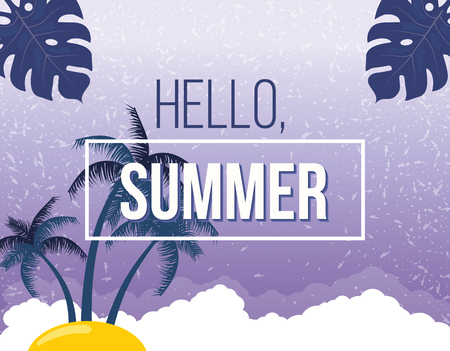 summer beach party: Summer beach vector background. Hello Summer Beach Party Flyer. Vector background. With Typography