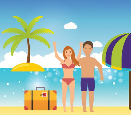couple in summer: Young couple relaxing on a tropical beach. People on summer beach. Summer people on the sand beach fun vacation
