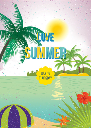 Summer beach vector background. Love Summer Beach Party Flyer. Vector background. With Typography Illustration