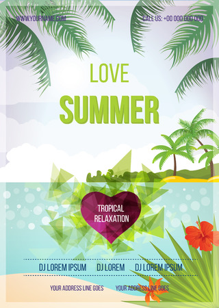 sensation: Summer beach vector background. Love Summer Beach Party Flyer. Vector background. With Typography Illustration