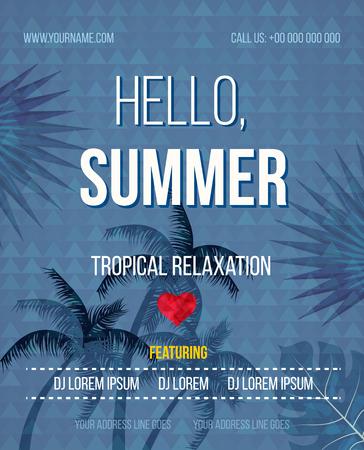 sensation: Tropical Summer vector background. Hello Summer Beach Party Flyer. Vector background. With Typography