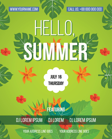 april beautiful: Tropical Summer vector background. Hello Summer Beach Party Flyer. Vector background. With Typography
