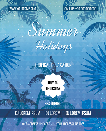 sensation: Tropical Summer holiday vector background. Summer fun. Hand lettering typography poster.