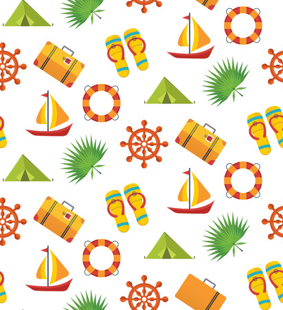 Summer holiday seamless pattern. Lets travel. Illustration with icons travel and summer relaxation