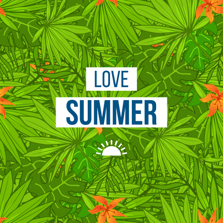 backround: Summer tropical background seamless pattern of palm leaves and flowers. Summer colorful hawaiian backround.