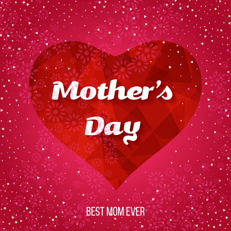greeting card background: Happy Mothers Day Greeting Card. Mothers day card with heart background. Illustration