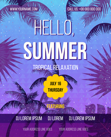 beach party: Tropical Summer vector background. Hello Summer Beach Party Flyer. Vector background. Hand lettering typography poster.