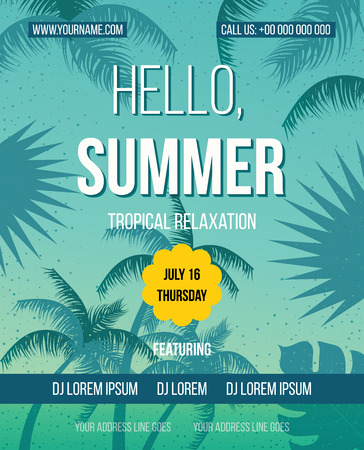 happiness people silhouette on the sunset: Tropical Summer vector background. Hello Summer Beach Party Flyer. Vector background. Hand lettering typography poster.