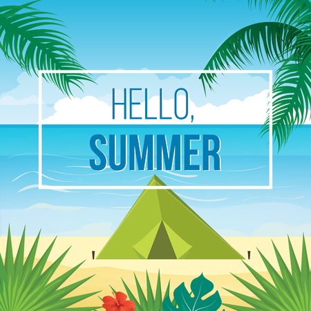 coastal: Summer holidays vector background with palm leaves and sea. Summer relaxation poster and flyer Illustration