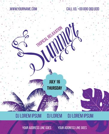 sensation: Tropical Summer vector background. Hello Summer Beach Party Flyer. Vector background. Hand lettering typography poster.