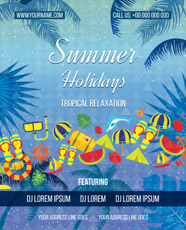summer holiday: Tropical Summer vector background. Love Summer Beach Party Flyer. Hand lettering typography poster. Summer holiday flat icons set.