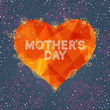 gift card: Happy Mothers Day Greeting Card. Mothers day card with heart background. Illustration