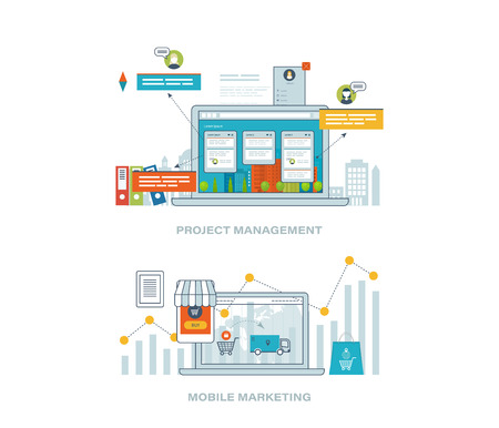 strategic management: Concept for business analysis, financial report, investment, consulting, strategy planning, project and strategic management, market data analytics. Mobile marketing concept. Online shopping. Illustration