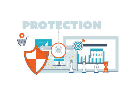 data line: Flat shield icon. Data protection concept. Social network security. Investment security. Color line icons