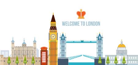 ロンドン市内のフラットなデザイン。モダンなロンドンのスカイラインのベクトル イラスト。ロンドン旅行。歴史と近代的な建物。