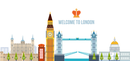 Flat design of London city. Modern London skyline vector illustration. London travel. Historical and modern building.