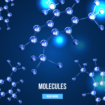 atomic structure: Abstract molecules design. 3d atomic structure molecule model grid over blue background. Banners with blue molecules design. Atoms. Medical background for banner or flyer. Illustration