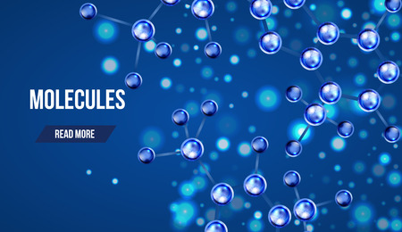 Abstract molecules design. 3d atomic structure molecule model grid over blue background. Banners with blue molecules design. Atoms. Medical background for banner or flyer. Vector Illustration