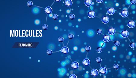 diseño de moléculas abstracto. 3d modelo de estructura atómica molécula de rejilla sobre fondo azul. Banderas con las moléculas azules diseño. Los átomos. Fondo médico por bandera o un volante. Ilustración de vector