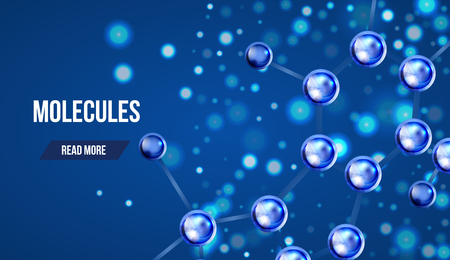 Abstract molecules design. 3d atomic structure molecule model grid over blue background. Banners with blue molecules design. Atoms. Medical background for banner or flyer. Vettoriali