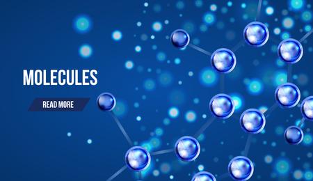 organic chemistry: diseño de moléculas abstracto. 3d modelo de estructura atómica molécula de rejilla sobre fondo azul. Banderas con las moléculas azules diseño. Los átomos. Fondo médico por bandera o un volante.
