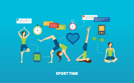 physical fitness: Modern flat vector icons of healthy lifestyle, fitness and physical activity. Yoga classes. Yoga exercises. Wellness icons for website and mobile application