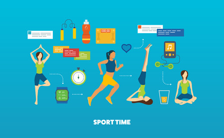 fitness instructor: Modern flat vector icons of healthy lifestyle, fitness and physical activity. Yoga classes. Yoga exercises. Running woman. Healthy lifestyle and fitness concept.