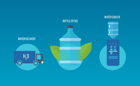 hot water bottle: Water cooler. Bottle office, plastic and liquid. Water extraction. Water delivery. Vector illustration
