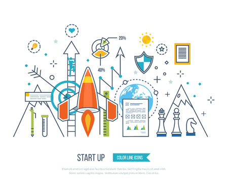 finance concept: Color line flat design composition and infographics elements concept for start up business and finance strategy. Strategy for successful business. Investment growth. Investment business
