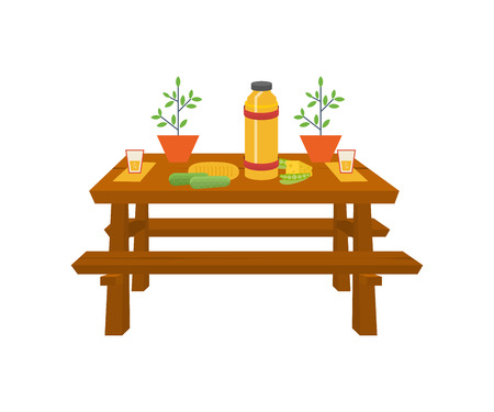 plant in pot: Summer picnic. Table with food and drink