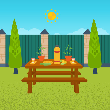 patio furniture: Summer picnic. Table with food and drink. Outdoor picnic house backyard. Illustration