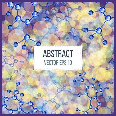 diseño de moléculas abstracto. 3d modelo de estructura atómica molécula de rejilla sobre fondo colorido. Banderas con las moléculas azules diseño. Los átomos. Fondo médico por bandera o un volante. Ilustración de vector