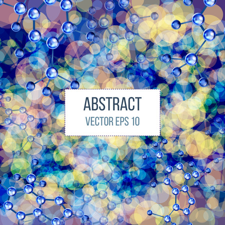 atomic structure: Abstract molecules design. 3d atomic structure molecule model grid over colorfull background. Banners with blue molecules design. Atoms. Medical background for banner or flyer. Illustration
