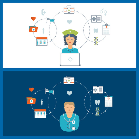 healthcare worker: Vector illustration concept for healthcare, medical help and research. Online medical diagnosis and treatment. Medical first aid. Healthcare worker.