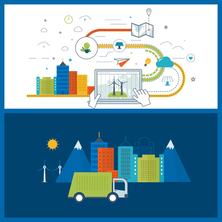 green buildings: Green eco city and eco-friendly city concept. Modern energy safety. Flat green energy, ecology, eco, clean planet, urban landscape and industrial factory buildings concept. Color line icons Illustration