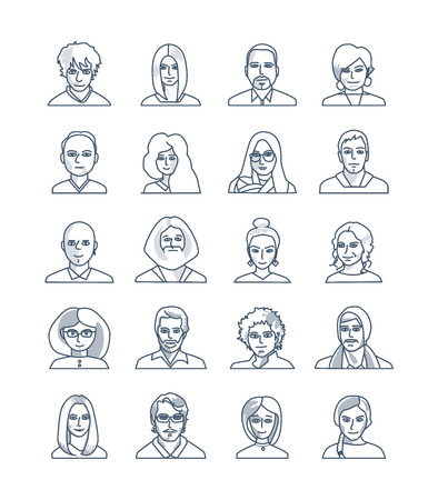 Modern thin line icons set of people avatars for profile page, social network, social media, professional human occupation. Cute cartoon people face. 矢量图像