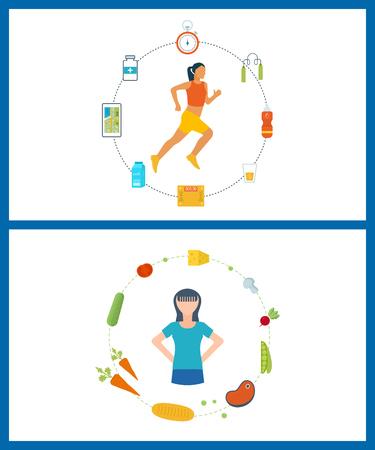 Laufende Frau. Moderne Flach Vektor-Icons von gesunden Lebensstil, Fitness und körperliche Aktivität. Gesunder Lebensstil und Fitness-Konzept. Icons für das Kochen, Obst und Gemüse. Gesundes Essen.