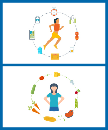 lifestyle: Running woman. Modern flat vector icons of healthy lifestyle, fitness and physical activity. Healthy lifestyle and fitness concept. Icons for cooking, fruits and vegetables. Healthy food.