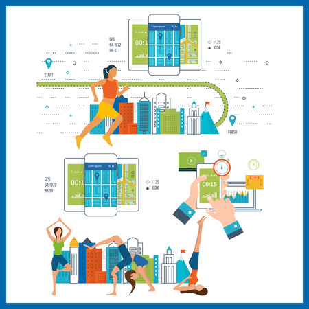 trainers: Vector mobile phone - fitness app concept on touchscreen. Running woman. Modern flat vector icons of healthy lifestyle, fitness and physical activity. Healthy lifestyle and fitness concept.