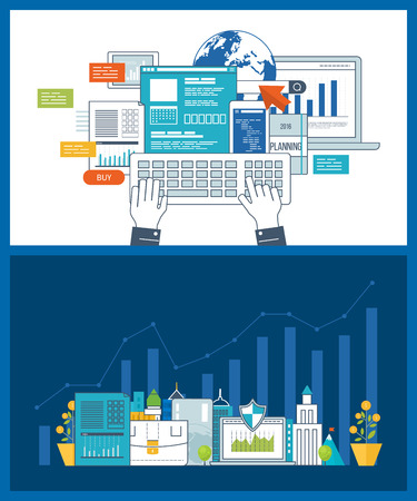 strategic management: Concept for smart investment, finance, market data analytics, strategic management, financial planning. Investment growth. Concept for e-business, web sites, mobile applications, banners