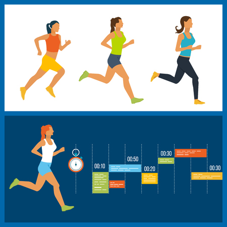 physical activity: Running woman. Training Schedule. Modern flat vector icons of healthy lifestyle, fitness and physical activity. Healthy lifestyle and fitness concept. Illustration