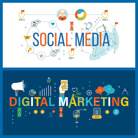 digital media: Online communication and social media concept. Digital and mobile marketing concept. Social network and investment management. Color line icons