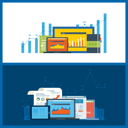 printed work: Flat design illustration concepts for business analysis, financial statement, consulting, team work, project management and development. Concepts web banner and printed materials.