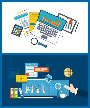 busines: Flat design illustration concepts for business analysis, financial strategy and report, consulting, team work, project management. Concept to building successful busines