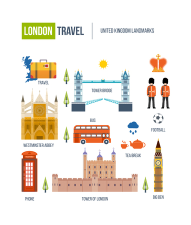 westminster abbey: London, United Kingdom flat icons design travel concept. Historical and modern building. United kingdom landmarks.